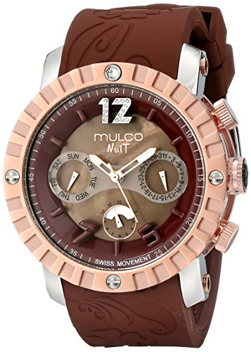 MULCO Unisex MW5-1876-033 Nuit Lace XL Analog Display Swiss Quartz Brown Watch